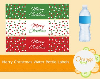 Merry Christmas Water Bottle Labels, Waterproof Water Bottle Wraps, Holiday Water Bottle Labels