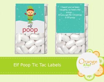 Elf Poop Tic Tac Labels, Christmas Elf Tic Tac Stickers, Christmas Party Favor Tic Tac Stickers