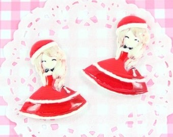 10% OFF SALE 4 x Mary CHRISTMAS Korean Style Girl Flatback Cabochons Kawaii Crafts Decoden