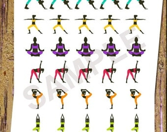 30 Yoga Planner Stickers Fitness Stickers Yoga Class Stickers Functional Stickers Icon Planner Stickers Yoga Lesson Exercise Workout A97
