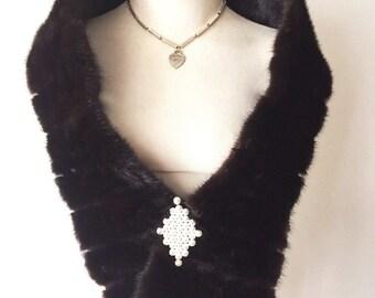 Dark brown fur scarf, real mink fur, long fur scarf, two-way scarf, with shining brooch, velvet fur,fluted design, vintage, size-universal.