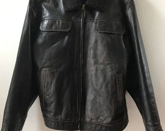 Pilot Mid Length Vintage Black Genuine Leather Jacket Men's Size Large.