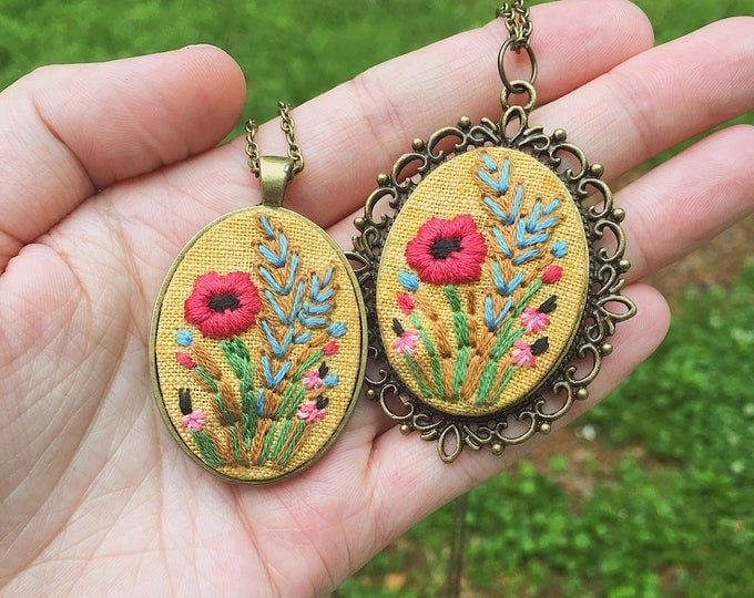 Hand Embroidered Pretty Poppy Pendant Necklace, Mother's Day gift, yellow linen, bright colors, victorian
