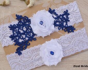White Garter, Navy Blue Garter Set, Flower Garter, Lace Wedding Garter, Bridal Garter, White Wedding Gift, Handmade Garter, Garter Set