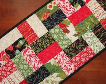Christmas Table Runner, Quilted Christmas Table Runner, Tole Christmas Table Runner, Handmade Table Runner, Red Green Black, Poinsettia