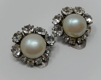 Rhinestone pearl earrings diameter 2,3 cm