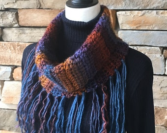 Multicolor Cowl, Scarf with a Fringe, Blue/Brown Cowl, Cowl Neck Scarf
