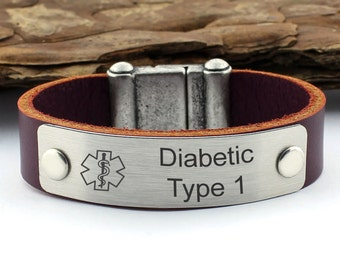 Personalized Medical ID Bracelets, Diabetes Bracelet, Medical Alert, Leather Bracelet, Diabetic Bracelet, Awareness Bracelet, Alert Bracelet