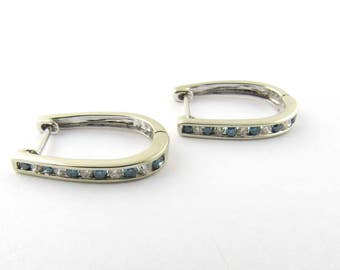 Vintage 14K White Gold Diamond and Blue Topaz U Shaped Hoop Earrings  #1588