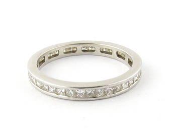 Vintage Platinum Princess Cut Channel Set Diamond Eternity Band Size 7.75 #477