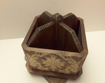 Wooden swivel desk caddy, rotates
