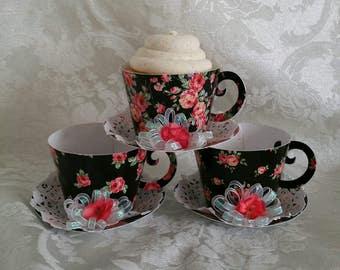 Cupcake Holder Teacup, Teacup Party Favor, Shabby Chic Teacup
