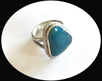 Leland Blue | Blue Stone | Michigan Stones | handmade | Statement Ring | Slag glass | Sterling Silver | Gifts for her | Blue color
