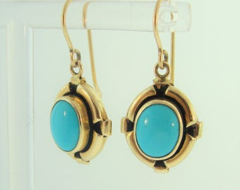 Turquoise Dangle Drop Earrings in 14k Yellow Gold