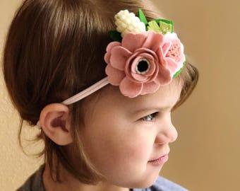 Magnolia Headband // Felt flower crown headband // Blush Summer headband // kikiandbee