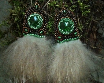 """Earrings from beads and furs """"North Fairy Tale"""""""