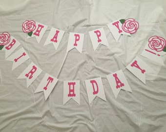 Kentucky Derby Roses, Flower Happy Birthday Party Banner