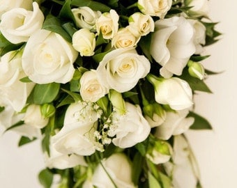 Beautiful real touch flower cascading bridal bouquet! Wedding bouquet, bride bouquet, bouquet for wedding, all white, keepsake bouquet