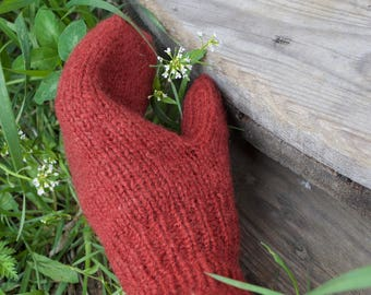 Women's hand knitted mittens, super chunky mitts, wool mittens, brown mittens, winter gift,