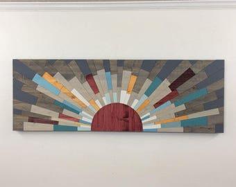 """wood art - LARGE """"UNDER the BOARDWALK"""" - 60""""x20"""" wall art, wooden wall art, art, contemporary art, modern, rustic, beach, red, yellow, blue"""