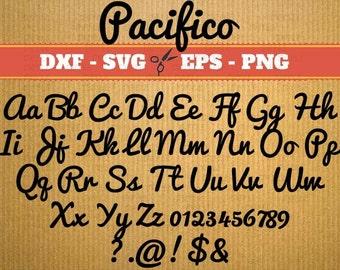 SVG fonts for cricut, Monogram,Pacifico,  svg font alphabet, Svg Font; Svg, Dxf, Eps, Png; Cursive Svg Font, svg fonts, svg font alphabet