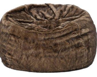 Meridian Plush Dark Brown Faux Fur Fabric Bean Bag