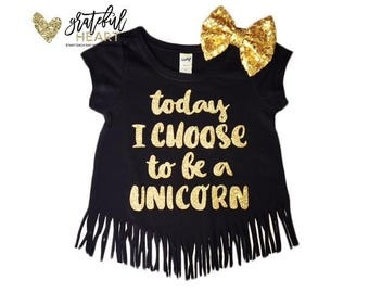 Unicorn shirt, Unicorn outfit, Unicorn birthday outfit, Unicorn fringe shirt, Unicorn party, Unicorn shirt toddler, Glitter fringe shirt