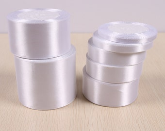 Pure White Satin Ribbon, Ribbon Roll, Gift Wrapping - RB004