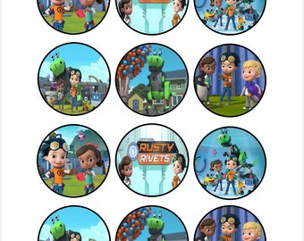 Edible Rusty Rivets Themed Cupcake Cookie Toppers
