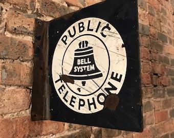 Vintage Porcelain 'Bell System Public Telephone' Flange Sign Rustic Decor