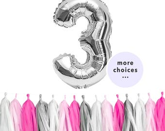 "GIRL Birthday Set | 40"" Silver Number Balloons 