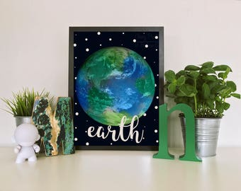 Earth Watercolor Print