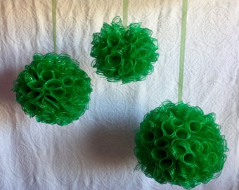 GREEN KISSING BALLS  Sold In Sets Of 3 Great For Outdoors And Indoors