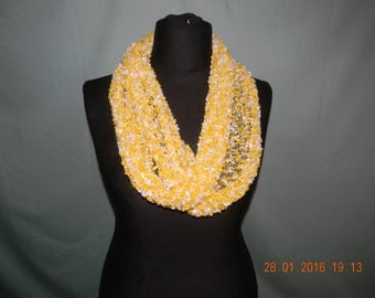 Handmade knitted double scarf, knitted in ladder yarn