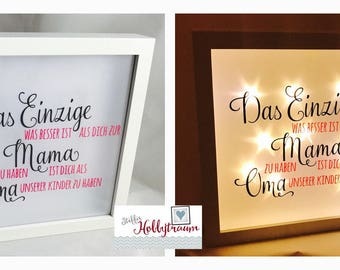 """Bright-line frame, light frame, Shadowbox, Star film """"better than you as a MOM"""" anthracite pink"""