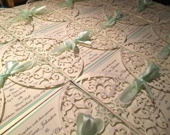 Laser style wedding invitations