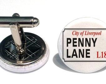 Penny Lane Road Sign Cufflinks beatles song liverpool street