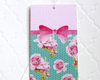 100 PRICE TAGS HANG Tags Retail Tags Boutique Tags Cute Pink Bow & Roses Merchandise Tags Clothing Tags With 100 Plastic Loops