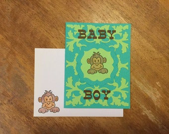 Monkey Baby Boy Card