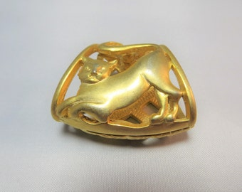 Vintage Figural Cat Kitty Scarf Slide or Pendant Brushed Gold