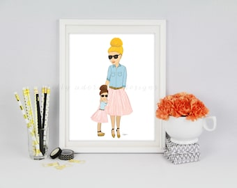 Mother And Daughter Duo Art Print, Mommy And Me Art Print, Mother Daughter