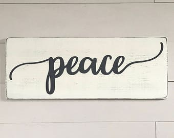 "Rustic signs | peace wood sign | rustic wall decor | wood signs | wooden signs | rustic wood signs | 9.25"" x 24"""