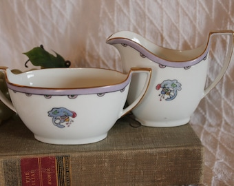Antique Z,S & Co Bavaria Hand Painted Creamer and Sugar Bowl Set - Hand Painted Flowers, Signed J. Bengel