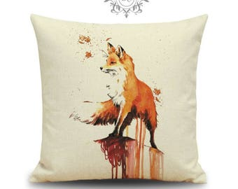 """Cute Fox Paint Effect Cushion Cover with Cushion Insert Included- 18"""" by 18"""" - Orange Cushion"""
