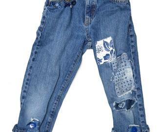 Girls patchwork denim capri jeans, sashiko, wabi-sabi, sequined patch, size 8, deconstructed denim