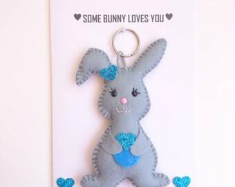 Anniversary card, I Love You card, Bunny card, Some Bunny Loves You, Bunny Keyring, Bunny Keyfob, Felt Bunny, Felt Rabbit, Greetings card