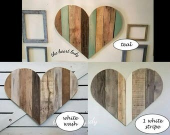 Set of 2 large wood hearts, Rustic wood wall art, Pallet heart sign cutout