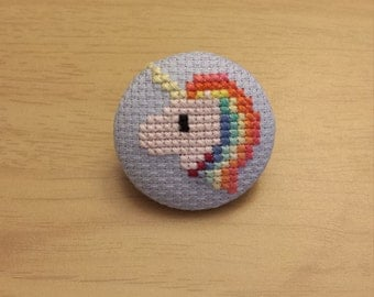 Rainbow Unicorn Cross Stitch Button (Pin Back or Magnet)
