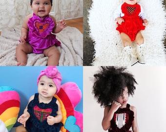 Valentine's Heart Romper 9-12 months, vintage heart romper, bohemian baby Romper, Boho baby, Hippie baby velvet leotard, ruffle baby
