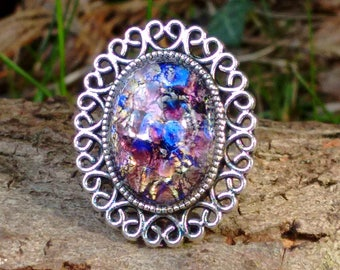 Fire Opal Ring, Bohemian Ring, Dragon's breath Ring, Harlequin Ring, Gypsy Ring, Vintage Style Ring, Statement Ring, Purple Fire Opal Ring